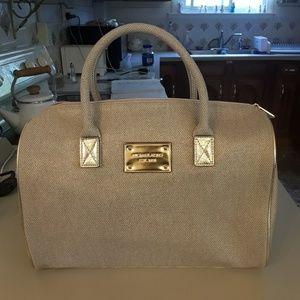 Michael Kors metallic gold cotton tote/ travel bag